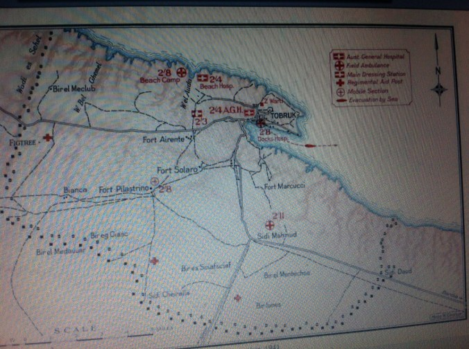 A (fuzzy) Allied map of Tobruk medical services including my Pa's 2/8 Field Ambulance