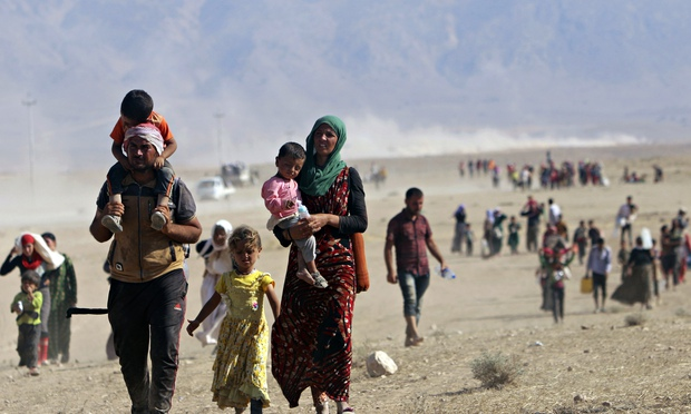 Displaced Yazidis. Look at that poor family. My kids grizzle if they don't get a snack on a ten minute car trip.